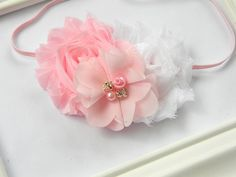 Pink and White Chiffon Headband  Baby Girls by Avabowtiquee, $9.95