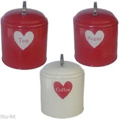 Kitchen Heart Storage Jars Tea Sugar Coffee Tin Canister Red Cream Beige Caddy   eBay