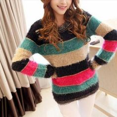 Loose Long-sleeved Striped Knit Sweater Jacket