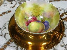 ROYAL WINTON GRIMWADES TEA CUP AND SAUCER FRUIT HP FAB | eBay