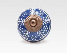Ceramic knob, dark blue, hand painted with antigue hardware, vintage