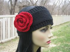 Beautiful Hand-Knit Headband with Crocheted red rose,wool/acrylic ,black and red  $25