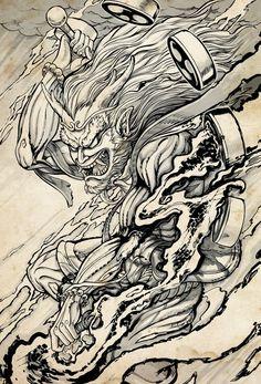 Raijin Plus - bilder dekoration God Tattoos, 4 Tattoo, Mask Tattoo, Tattoo Drawings, Japanese Tattoo Art, Japanese Tattoo Designs, Japanese Art, Japanese Dragon, Japan Tattoo