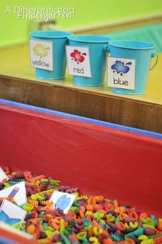 A Year Of Easy Sensory Table Fillers Back To School Sensory Table Color Sort. A great math activity to acclimate your students to sensory bins during math center. A Year of EASY Sensory Table Fillers and Activities-Kindergarten Kindergarten Sensory, Differentiated Kindergarten, Kindergarten Centers, Preschool Classroom, Classroom Activities, Preschool Activities, Differentiated Instruction, Indoor Activities, Summer Activities