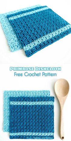 Primrose Dishcloth Free Crochet Pattern #freecrochetpatterns #diyproject #crochetdishcloth