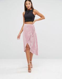 Image 1 ofASOS TALL Wrap Midi Skirt In Velvet