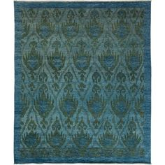 "New Blue Overdyed Hand-Knotted Rug - 8'4"" x 10'0"" (5,065 CAD) ❤ liked on Polyvore featuring home, rugs, contemporary handmade rugs, ikat area rug, hand-knotted rug, handmade rugs, hand made rugs and hand knotted rugs"