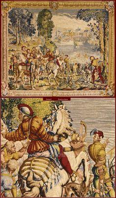 """Tapestry De Rambouillet - Polychrome reproduction on textile of """"Chasse de Maximilien le baut l'eau"""" tapestry (Manufactures des Gobelins, end XVIIth. Cent..)."""