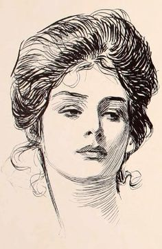 Gibson Girl iconic beauty. Charles Dana Gibson, 1902 --The ideal of feminine beauty at the turn of 19-20 centuries was the image created by the American illustrator Charles Dana Gibson (September 14, 1867 – December 23, 1944).