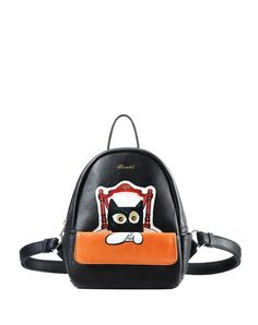 Black Cat Painted Snap Pocket Backpack