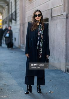 Eleonora Carisi outside Calvin Klein during Milan Men's Fashion Week Fall/Winter 2016/17 on January 17, 2016, in Milan, Italy