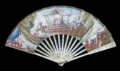 Late 18th/early 19th Century French fan,the painted panel decorated with chinoiserie figures on a terrace, ivory sticks with pierced and carved decoration and painted flowers, 51.5cm wide