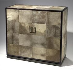 Art Deco Style Solid Wood Buffet Cabinet Inlaid with Parchment Panel Steel Bottom Base with Brass Finish and Brass Hardware