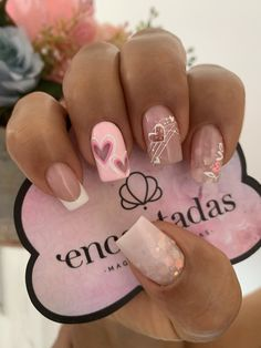 Sassy Nails, Love Nails, Pink Nails, Pretty Nails, Semi Permanente, Manicure, Valentine Nail Art, Gold Glitter Nails, Best Acrylic Nails