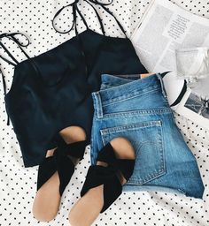 flat lay, summer style, denim shorts, tank top, fashion magazine, shoes, summer shoes, pretty things