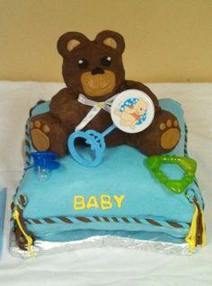 Baby shower cake rice Krispie treats bear