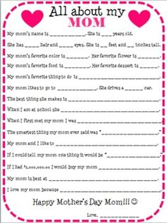 A questionaire for kids about mom!