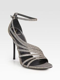 B Brian Atwood Glitter Strappy Sandals