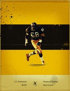 NFL's Greatest Defenses - 1970's Pittsburgh Steelers by Jon Rogers, via Behance