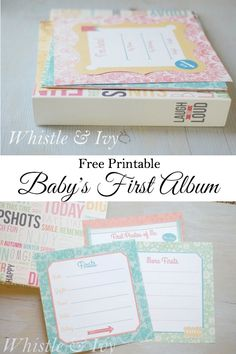 Free Printable Baby Album - Make a keepsake album with all your baby's firsts (Diy Baby Book) Baby's First Books, Baby Record Book, Baby Records, Baby Journal, Pregnancy Journal, Pregnancy Tips, Baby Memories, Babies First Year, Baby Scrapbook