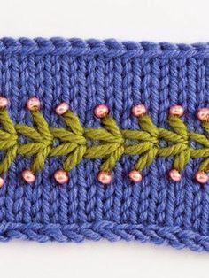Stickmuster - ༺✿༻Embroidery/Embellishment on Knitting/Crochet ༺✿༻ - Baby Knitting Patterns, Knitting Stitches, Knitting Yarn, Embroidery Stitches, Embroidery Patterns, Hand Embroidery, Stitch Patterns, Knit Crochet, Crochet Hats