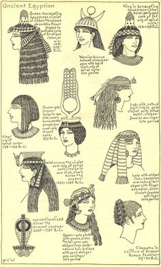 Illustrations of the different hat styles of the Ancient Egyptians