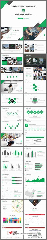 【2016绿色清新商务PPT模板(30套配色方案)】-PPTSTORE