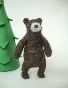 Needle felted bear needle felted animal educational par madamecraig
