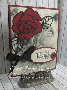 Stampin' Up!, Rose Wonder, Rose Garden framelits, Timeless Elegance designer paper, DIY handmade wedding cards,carolpaynestamps