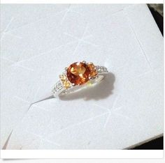 Madeira Citrine Ring, Fire Opal, White Topaz Sterling Silver (Size 7, 8.25) #SolitairewithAccents