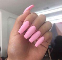 Long Pink Acrylic Nails Tumblr