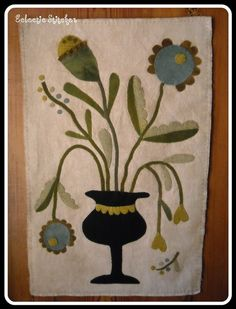 Primitive Wool Applique ~ Urn Full of Flowers (design by Maggie Bonanomi)