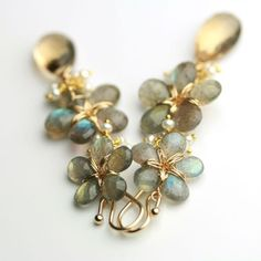 Etsy seller fussjewelry - Long Flower Earrings Dangles in Labradorite, Champagne Citrine and Freshwater Pearls