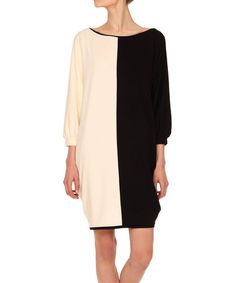 Look what I found on #zulily! Black & Ecru Color Block Dolman Dress #zulilyfinds
