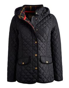 Joules null Womens Hooded Quilted Jacket, Black.                     Roll on chilly mornings, cold days and nippy nights! One of our best-loved quilted jackets is back and no matter how low the mercury is – we're getting out and about in style. A true Joules classic with all the details you'll love to discover again and again – and a detachable hood that you can take on or off as the temperature dictates.