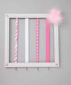 Pink & White Hair Clip Holder, just might have to DIY this for Adaline.