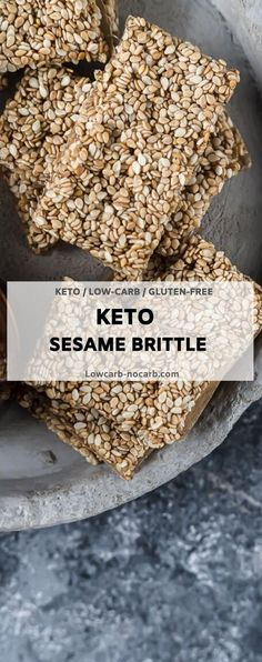 "Super Chewy Sugar-Free Sesame Brittle Bars perfect as your Keto Candy, whenever you have a sweet tooth. Those Keto ""Honey"" Sesame Snaps are fully Nut-free, Gluten-free, and Grain-Free made in no time and perfect for a Lunch Box option or as a Meal Prep Keto mini dessert. #sugarfree #lowcarb #keto #sesame #sesameseeds #honey #brittlebars #honeysnaps #ketosweets Mini Desserts, Low Carb Desserts, Low Carb Recipes, Nut Free, Grain Free, Sugar Free Honey, Wheat Belly Recipes, Keto Cupcakes, Keto Candy"