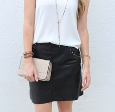 Topshop Tank / Zara skirtunder $40!!/ Mules /Long Necklace /Short Necklace (only $15!!!) Earrings / Chain Link Bracelet (from TJ Maxx, similar here)/ WHBM Leather Bracelet (sold out onl...