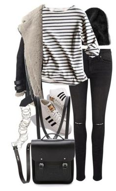 08b6687315b0 A fashion look from December 2015 featuring stripe t shirt, acne studios  jacket and mid rise skinny jeans.