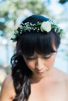 Baby's Breath and Rose Flower Crown