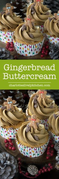Gingerbread Buttercream If you're a fan of men then you'll love this delicious, smooth gingerbread buttercream, flavoured with ginger and black treacle. recipe liven up vanilla or chocolate cupcakes or go full on ginger Buttercream Recipe, Frosting Recipes, Cupcake Recipes, Cupcake Cakes, Dessert Recipes, Buttercream Cupcakes, Party Cupcakes, Keto Desserts, Christmas Cupcakes