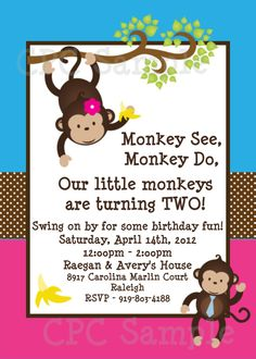 Twins Monkey Birthday Invitation Twins Siblings Monkey Birthday Party