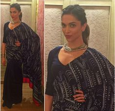 Deepika Padukone in black saree for her movie Bajirao Mastani Promotions