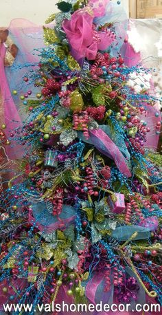 The whimsical fantasy Christmas tree. Filled with bright colors! Whimsical Christmas Trees, Beautiful Christmas Trees, Christmas Tree Themes, Holiday Tree, Christmas Love, Christmas Colors, Xmas Tree, Christmas Holidays, Christmas Wreaths