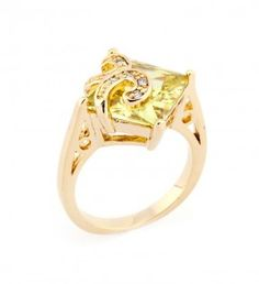 A beautiful crystal accented fleur de lis is mounted on a princess cut peridot CZ.