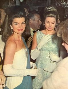 Princess Grace Kelly of Monaco with former first lady Jacqueline Kennedy. 1966.
