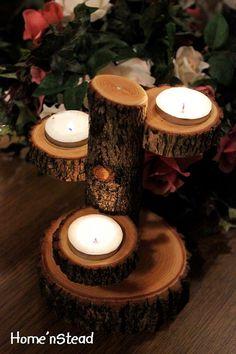 Teared Log Votive Candle Holder Rustic Wedding Table Centerpiece Idea. $25.00