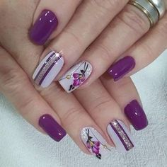 lavender nails — 30 Cool and Easy Halloween nail art designs for Women Flower Nail Designs, Flower Nail Art, Nail Designs Spring, Nail Art Designs, Nails Design, Nail Art Rose, Spring Design, Diy Flower, Purple Nail Art