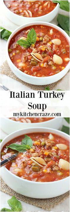 Italian Turkey Soup ~ http://mykitchencraze.com ~ A hearty and flavorful soup for those chilly nights. Loaded with noodles, cheese, vegetables and turkey. Yum!