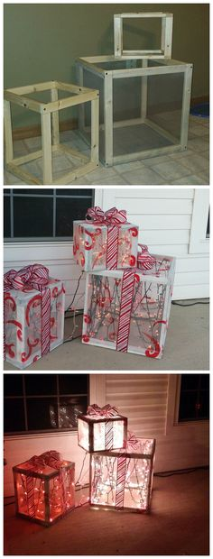 DIY Wood lighted presents for the front porch on Christmas! Cute craft DIY Wood lighted presents for the front porch on Christmas! Diy Christmas Lights, Diy Christmas Decorations Easy, Noel Christmas, Cute Crafts, Christmas Projects, Holiday Crafts, Outdoor Christmas Presents, Diy Outdoor Christmas Decorations, House Decorations